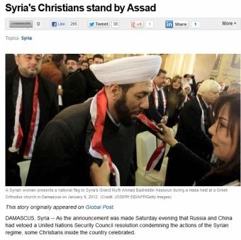 Mufti Syiah di Syria dipakaikan kalungan bendera oleh wanita Kristian.