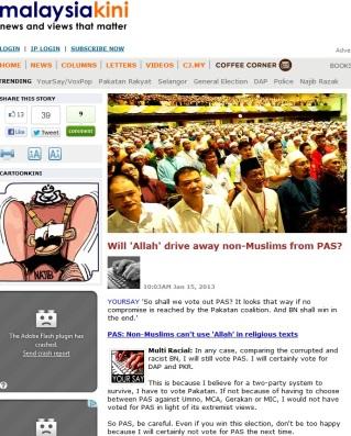 MalaysiaKini - bukan Islam menjauhi PAS