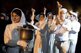 Festival nyalaan api penganut Zoroastrian (Majusi) di Iran.